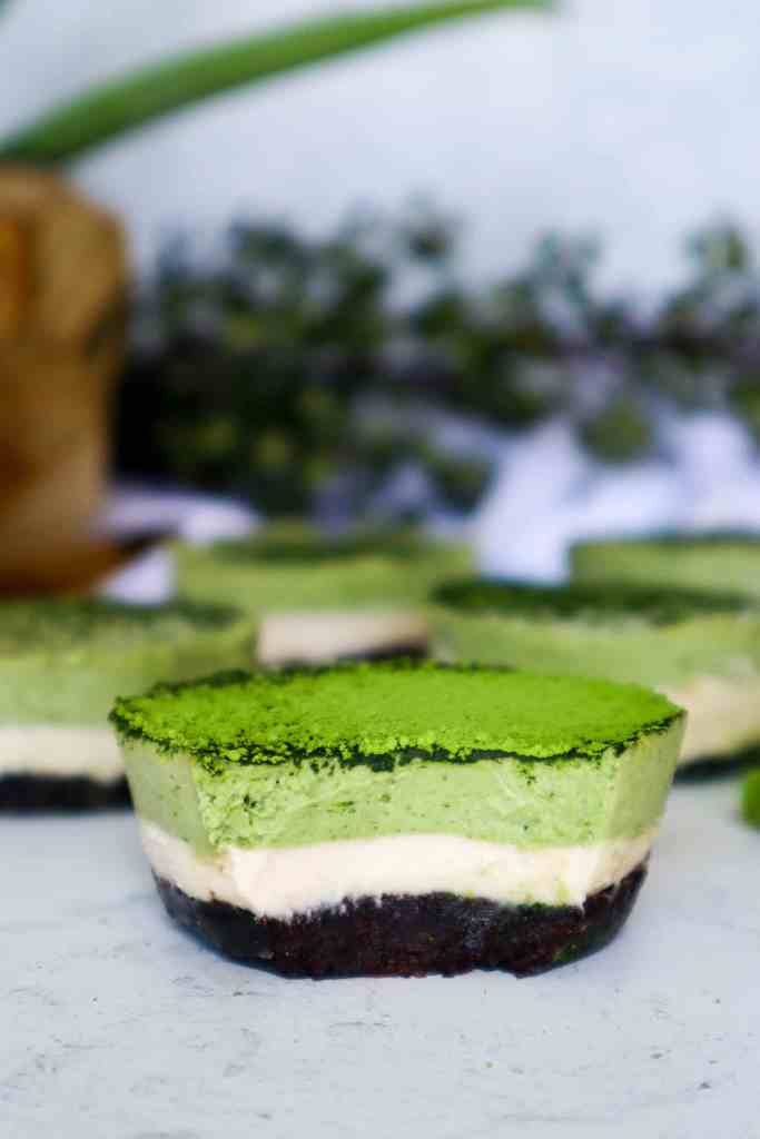 Close up Image of No Bake Vegan Matcha Cheesecake (Gluten-Free)