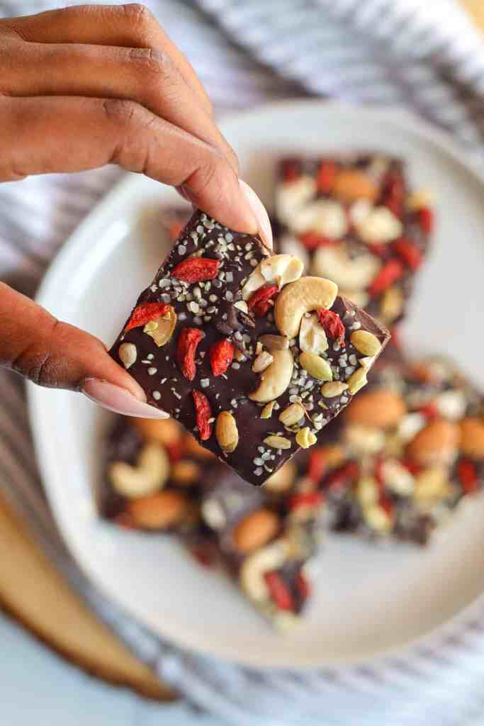 Easy Chocolate Bark with Sea Moss, Nuts, Goji Berries, and Hemp Seeds,