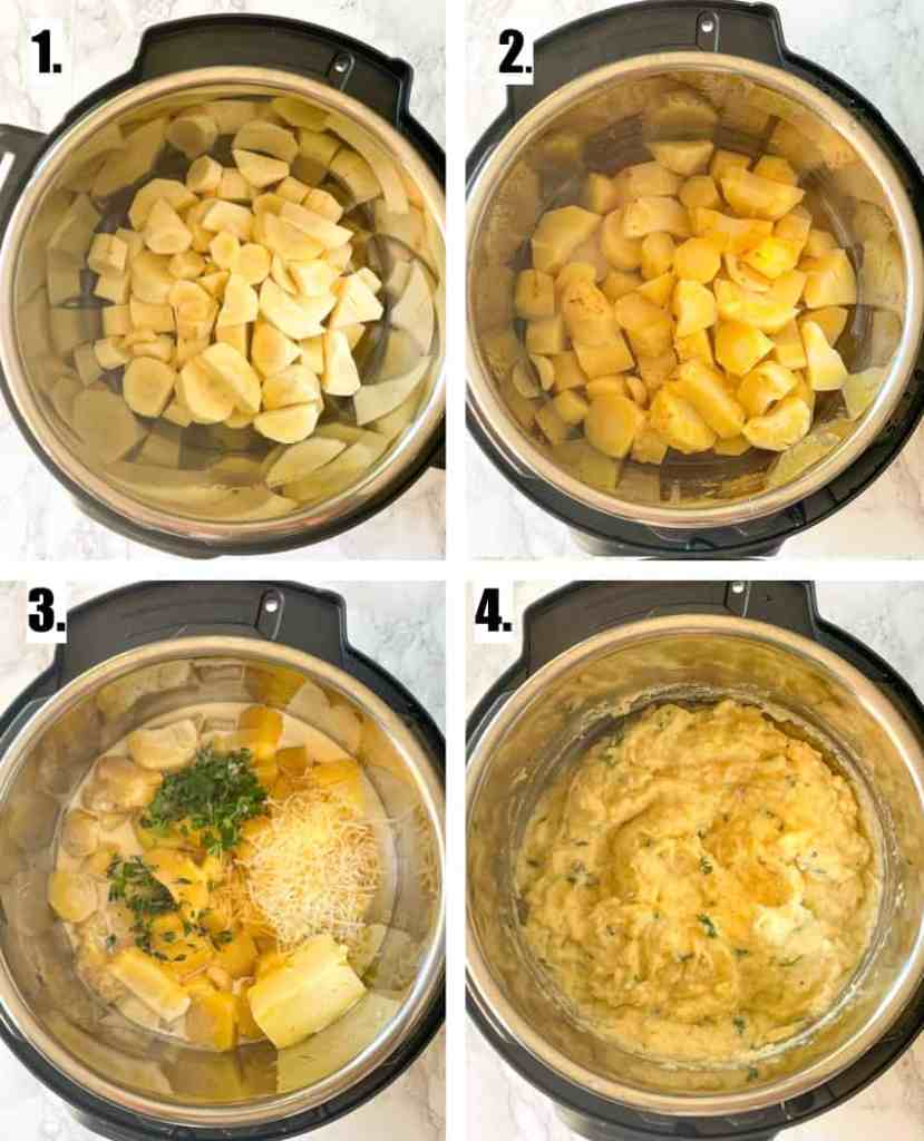 instruction images for how to make parsnip mash