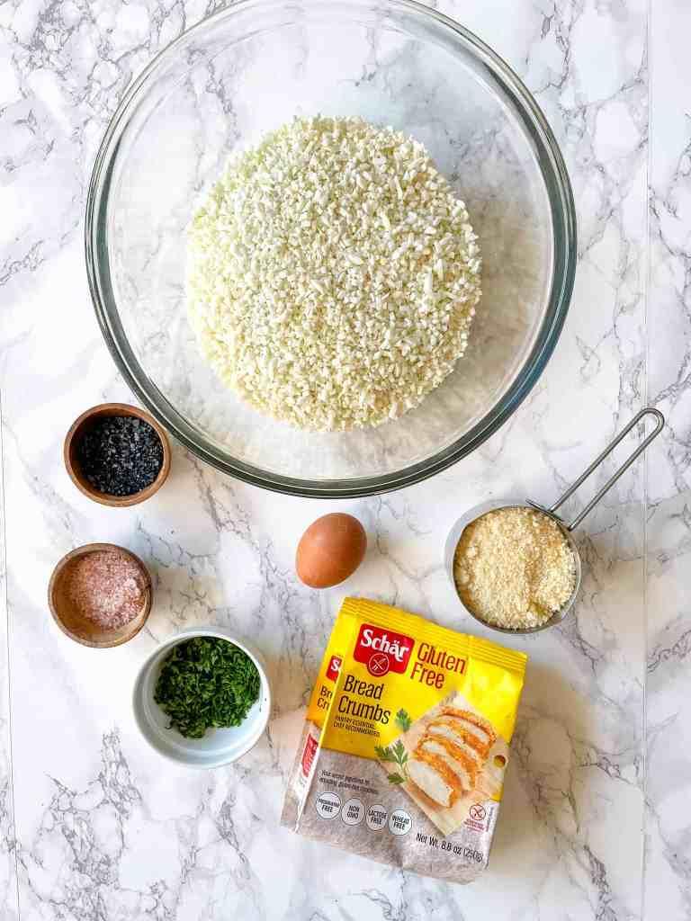 Ingredients to make air fryer cauliflower tots with baking option