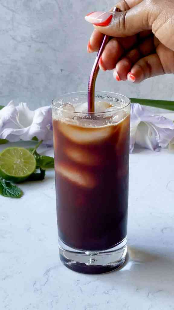 cafe tonic with blueberry simple syrup