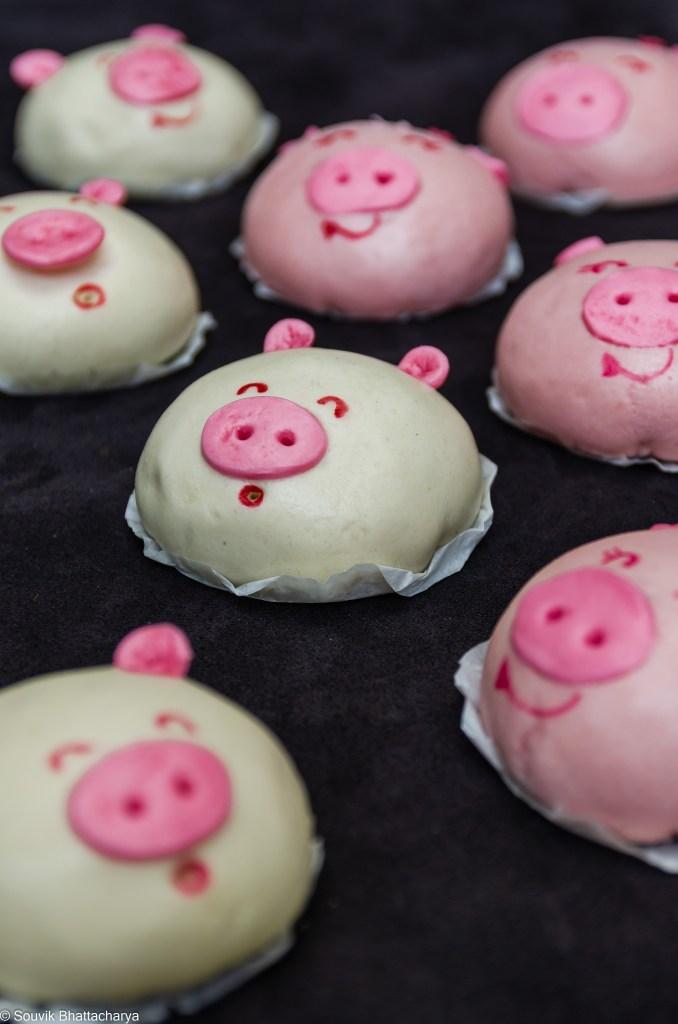 Piggy Baos or Char Siu Baos at Royal Jade Kolkata