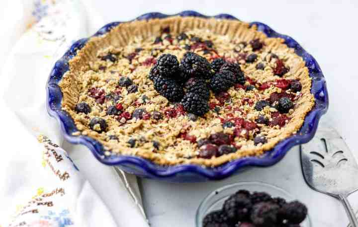sugar free plant based mixed berry pie