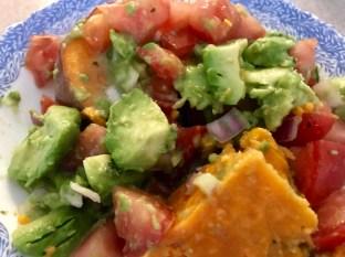 sweet potatoes with guacamole