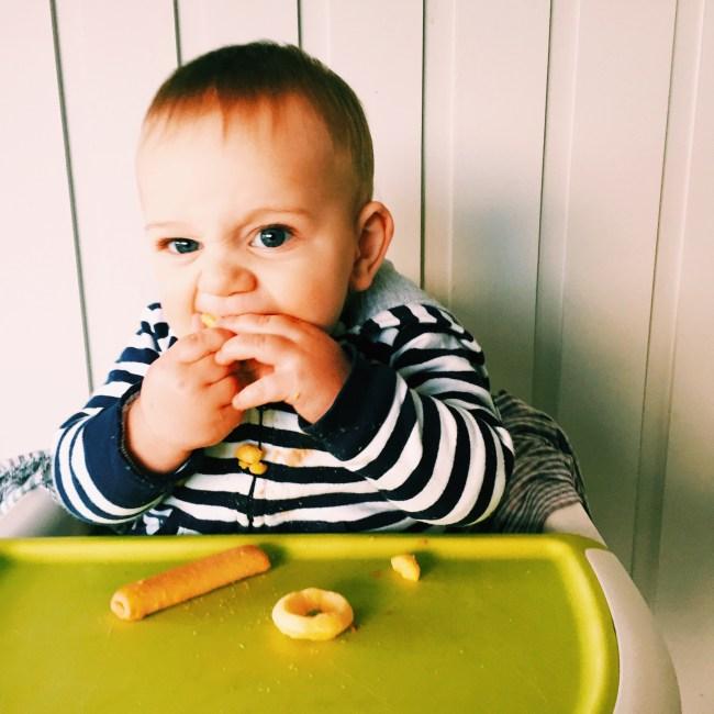 The Little Dude enjoying his Organix