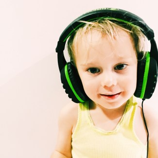 Mr Moo listening to a few tunes before bedtime
