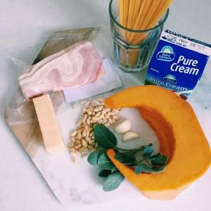 Recipe: Spaghetti carbonara with pumpkin, pinenuts and sage