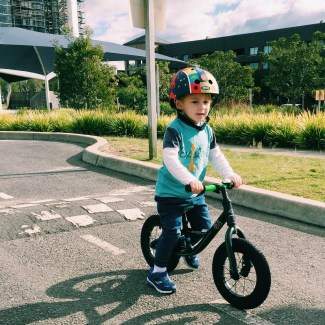 Mr Moo riding his bike at the Sydney Bike Park