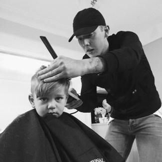 The Little Dude getting a haircut