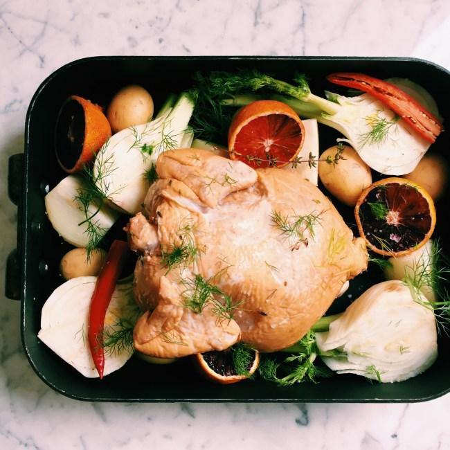 tea-brined blood orange roast chicken