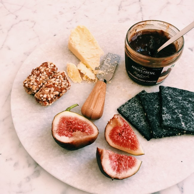 Franjos Kitchen biscuits with cheese, figs, caramalised onions and date and almond logs