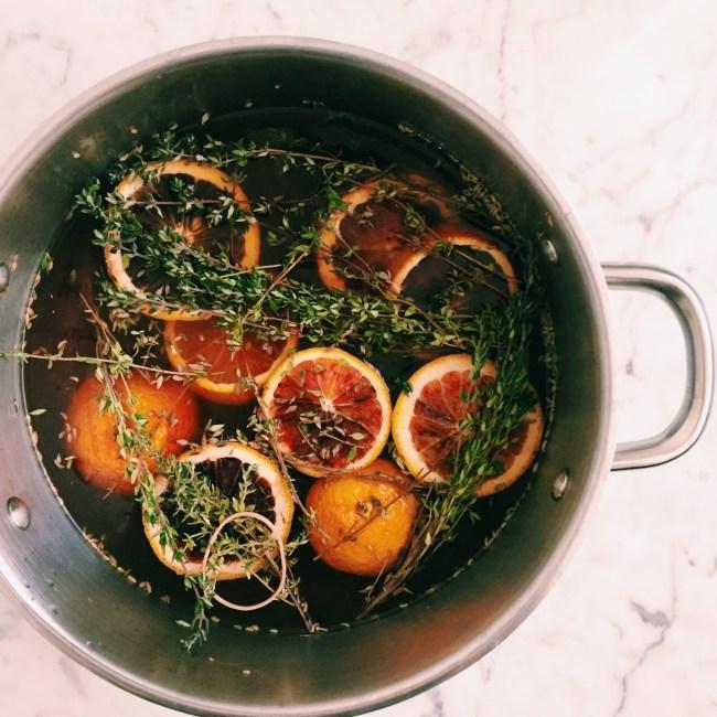 Brine made with blood oranges