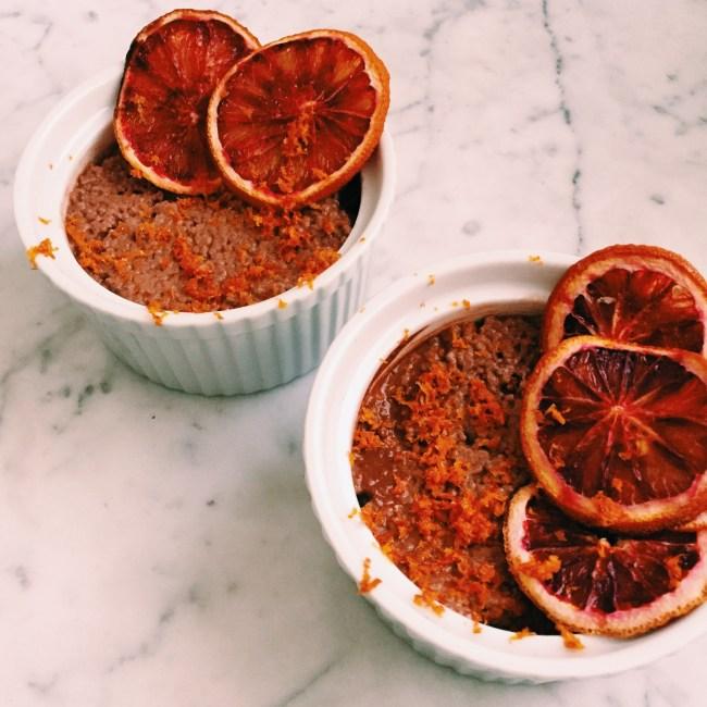 Vegan blood orange and cacao chia parfait