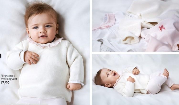 HM-Newborn-Exclusive-voorjaarscollectie-voor-Unicef-fijngebreid-overslagvest