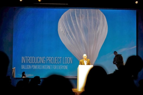 The Project Loon Ballon in the background