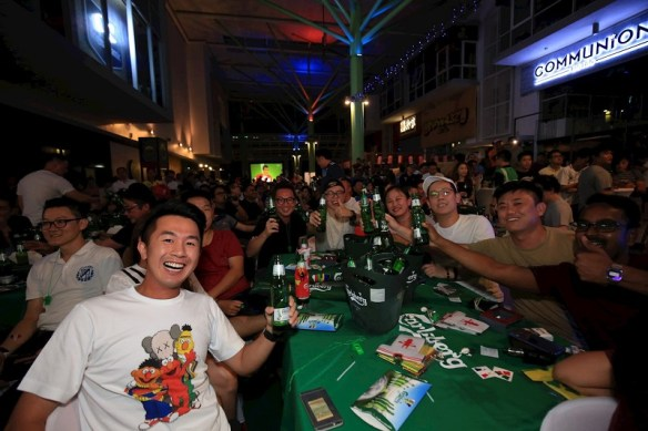 Beer lovers at one of Carlsberg's mega scale parties held at The Brew House in Sunway Giza, KL enjoying Carlsberg – Probably The Best Beer In The World!