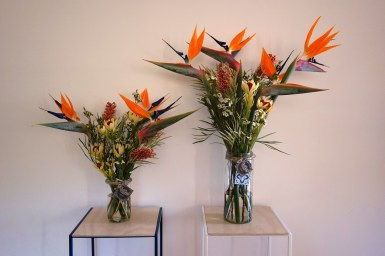 Bird of paradise & native flower arrangements