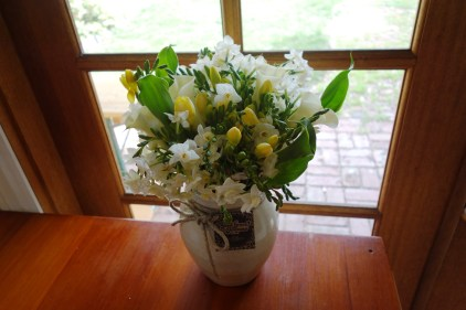 Calla lily, jonquil & freesia arrangement