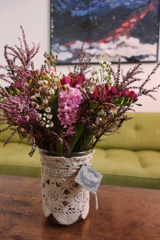 Freesias, hyacinth, waxflower & thryptomene arrangement