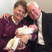 Grandma Connie and Grandpa Bob with Beau