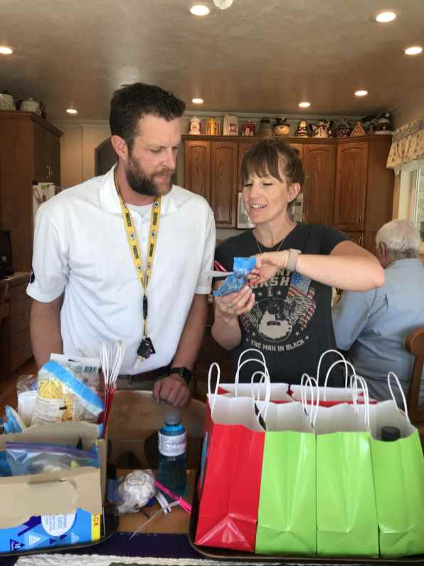 Me explaining how cute the bags really are!
