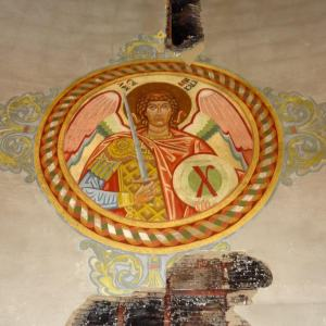 From the ceiling: the ceiling on each side of the icon was destroyed; St. Michael was not.