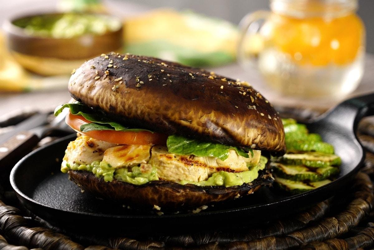 Sandwich de Portobello y pollo - ¿Cómo preparar un Sandwich de Portobello y Pollo? Receta para Diabéticos