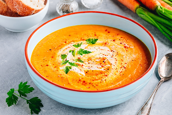 crema de zanahoria con nueces - Carrot Cream Recipe with Macadamia Nuts - Diabetics Recipe