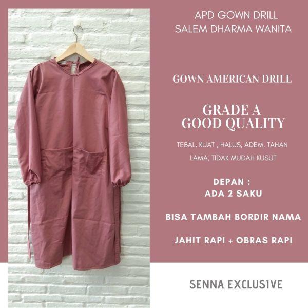 APD Medis Gown Drill Warna Salem