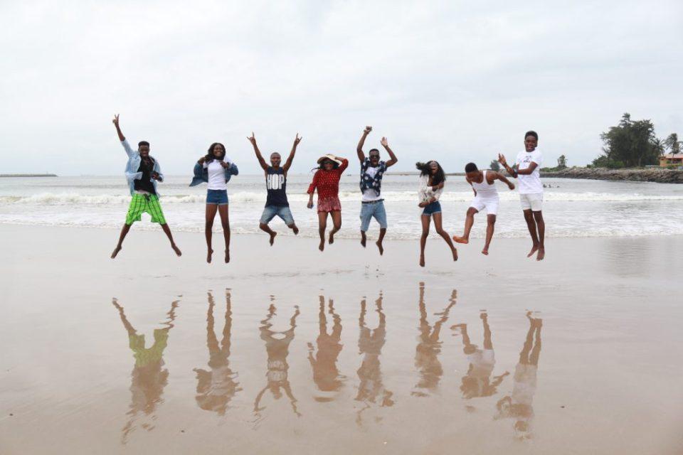 group of friends at tarkwa bay lagos