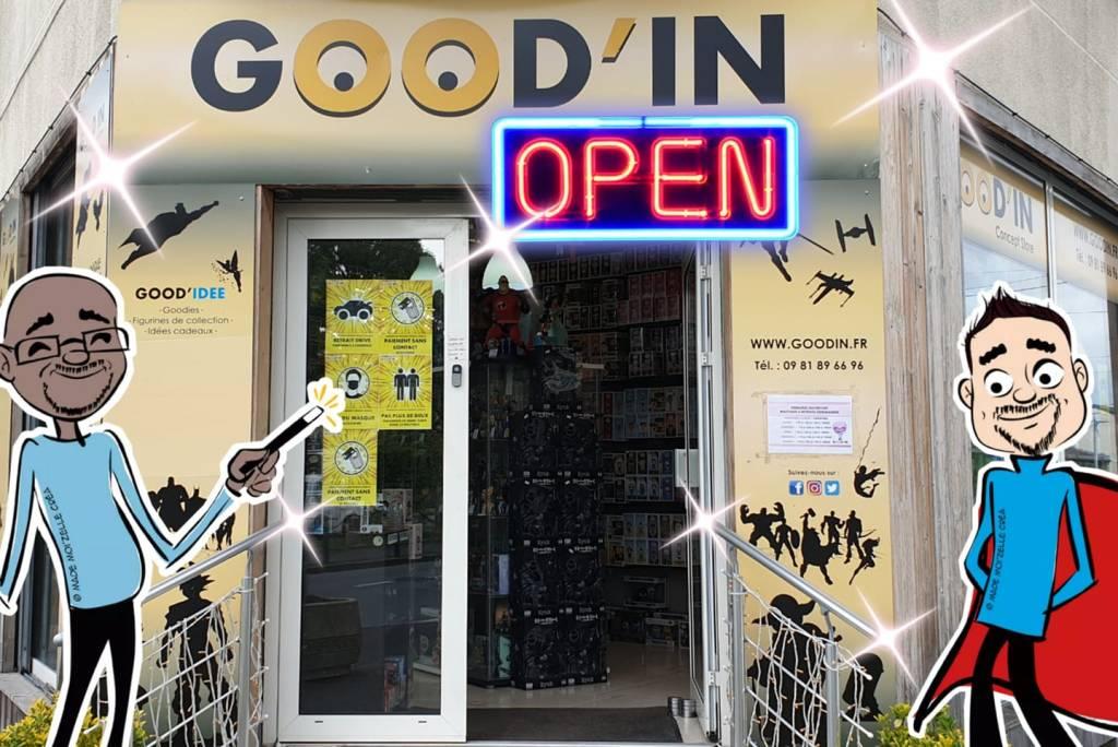 Facade boutique physique GOODIN shop funko pop goodies figurines sainte genevieve des bois essonne