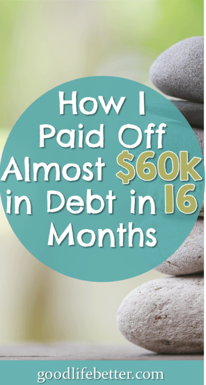 Need some inspiration to tackle your debt? Read my story about paying off almost $60,000 in 16 months! #DebtPayoff #CrushingMyDebt #GoodLifeBetter