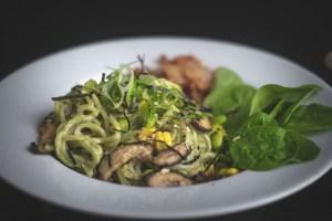 Creamy Pesto Ramen With Shiitake Mushrooms