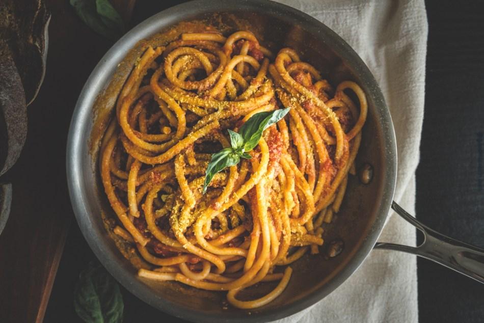 Pan of tomato sauce pasta