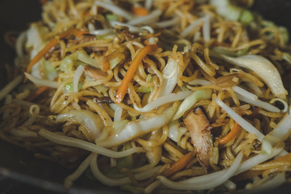 Bean sprouts added to Yakisoba