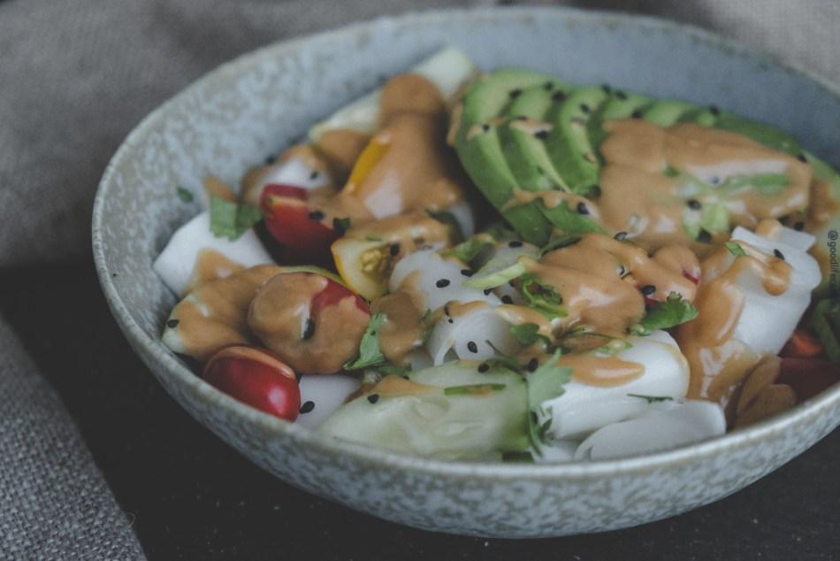 Peanut Sauce Rice Noodle Bowl