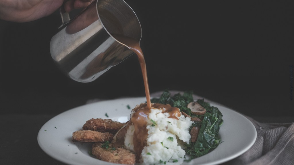 Gravy Pour Over Mashed Potatoes and Crispy Tenders
