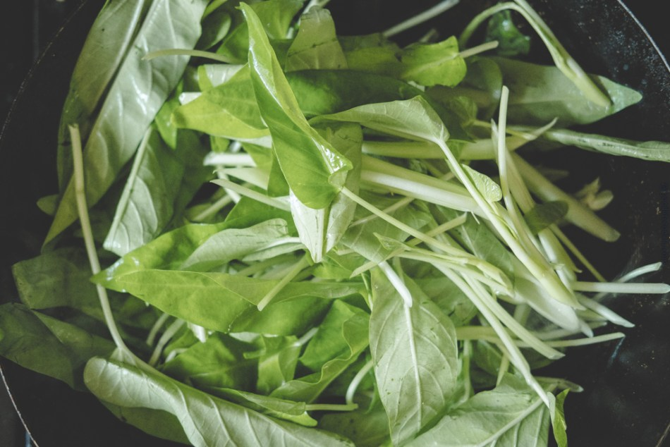 Water Spinach in wok