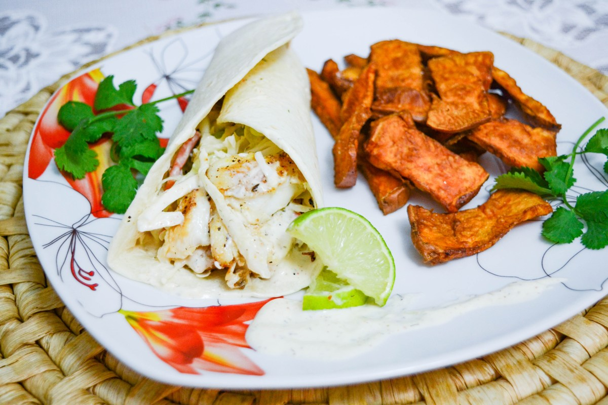 Tilapia Fish Tacos with Sweet Potato Fries (and Homemade Lime Sauce!)