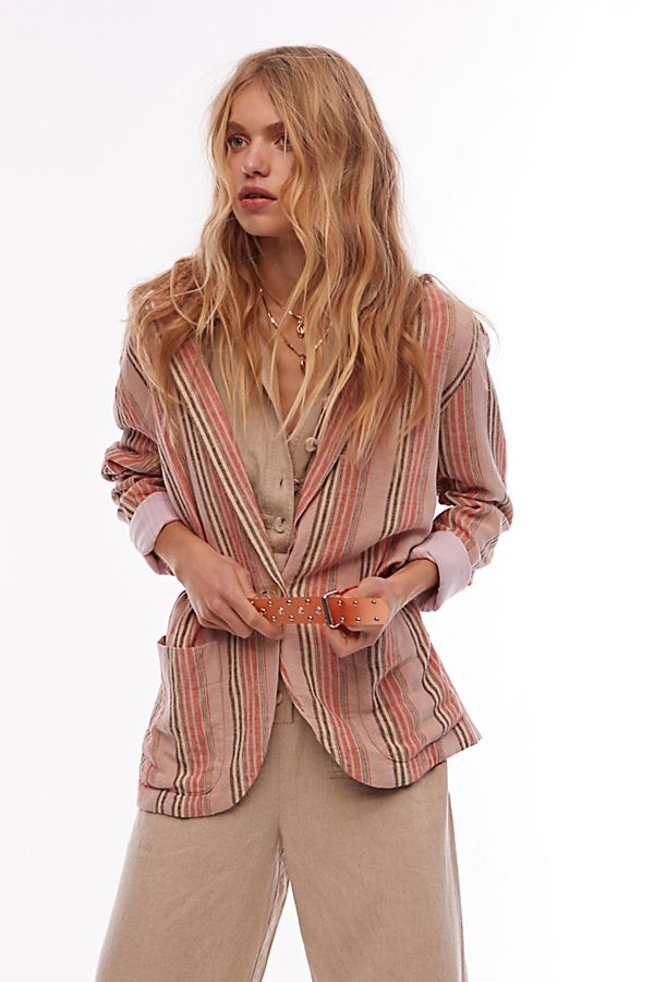 Free People Stripe Vintage Blazer
