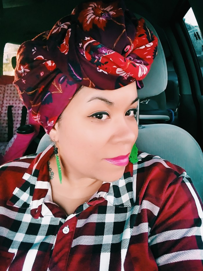 Sometimes you can find beautiful scarves at a local store and turn it into a headwrap style!