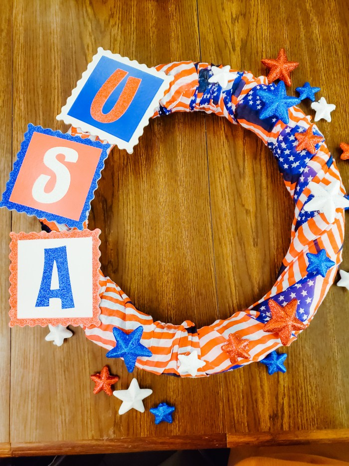 DIY Fourth of July Wreaths Made with Dollar Tree Craft Supplies