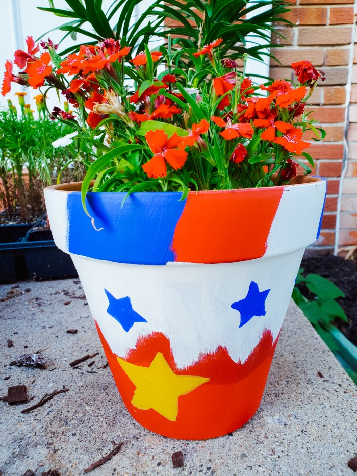 DIY 4th of July Flower Pot