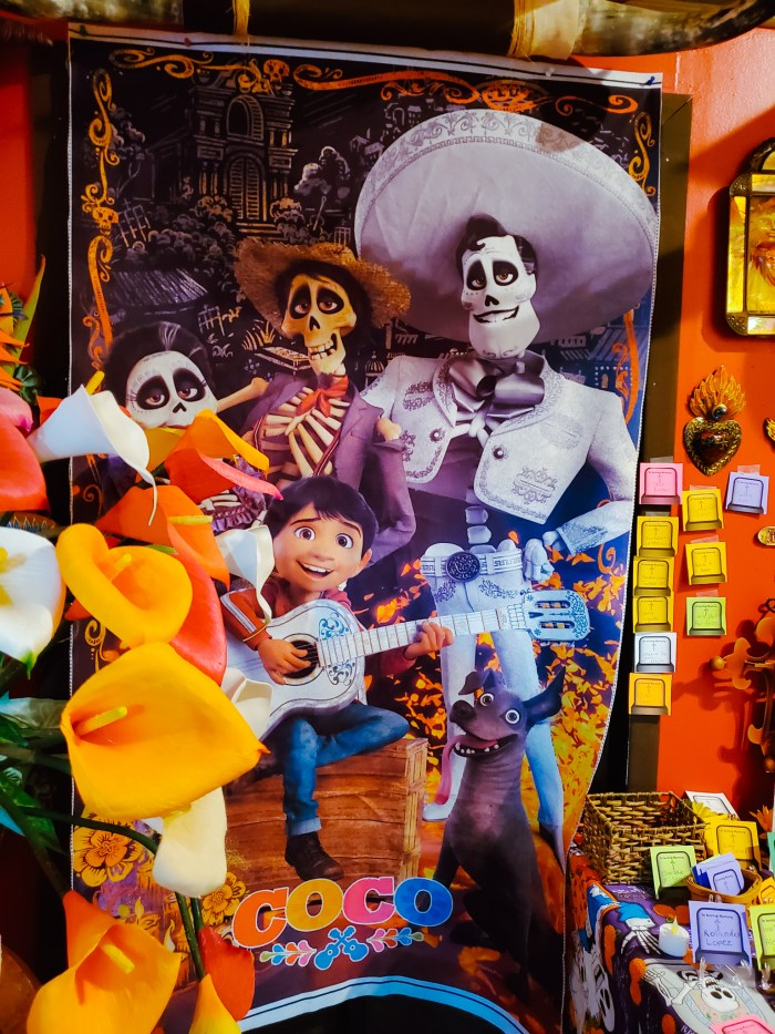 Disney's Coco movie poster at Xochi Gift Shop in Detroit