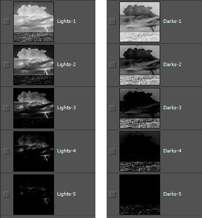 Lights-series and Darks-series of luminosity masks