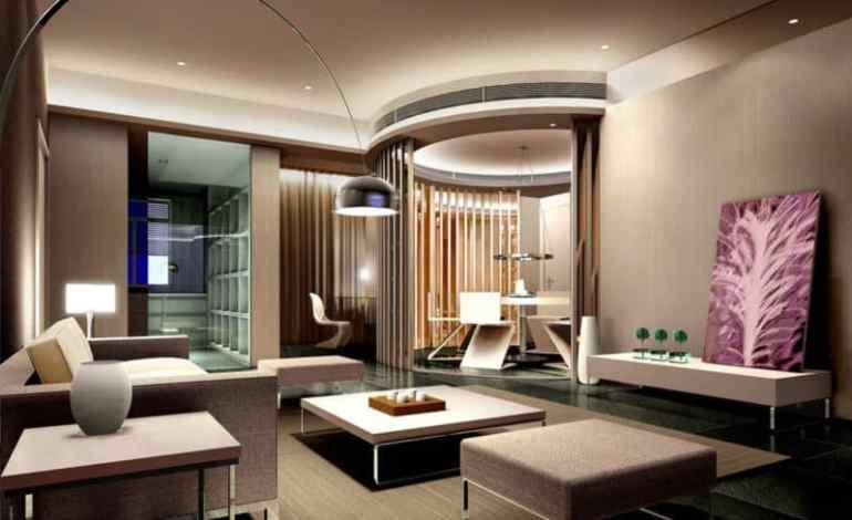 Interior Ruang Tamu Elegan Pada Rumah Mewah Modern