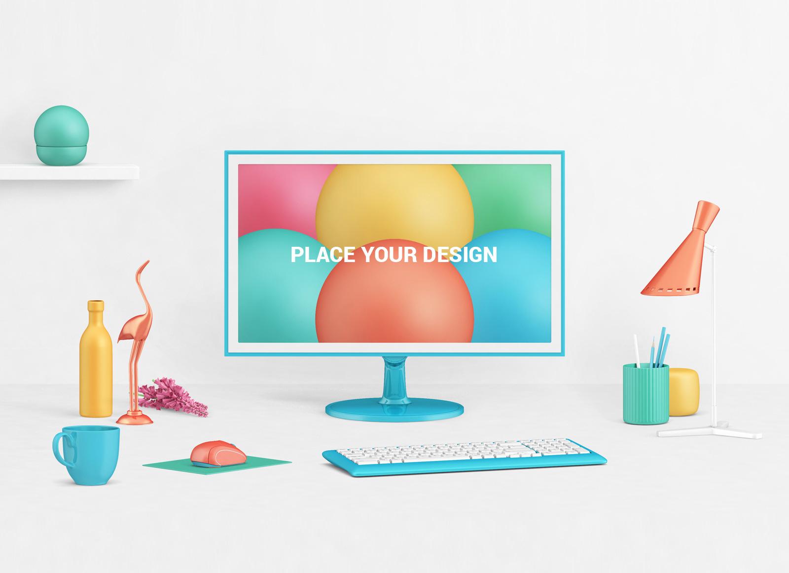Free Photorealistic Lcd Monitor Mockup Psd With Decor Items Good