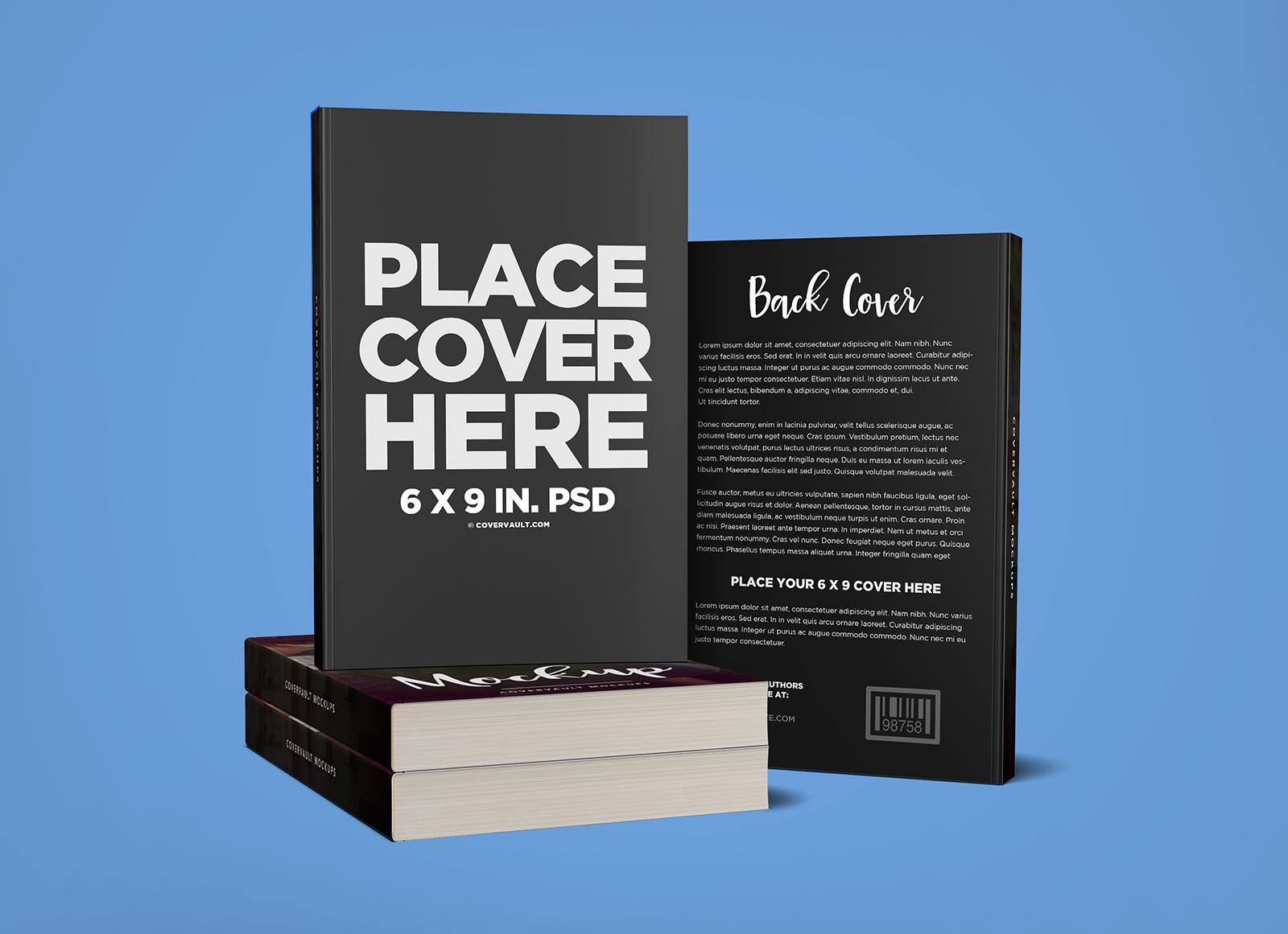 Free Stacked Books With Back Cover Mockup PSD Good Mockups
