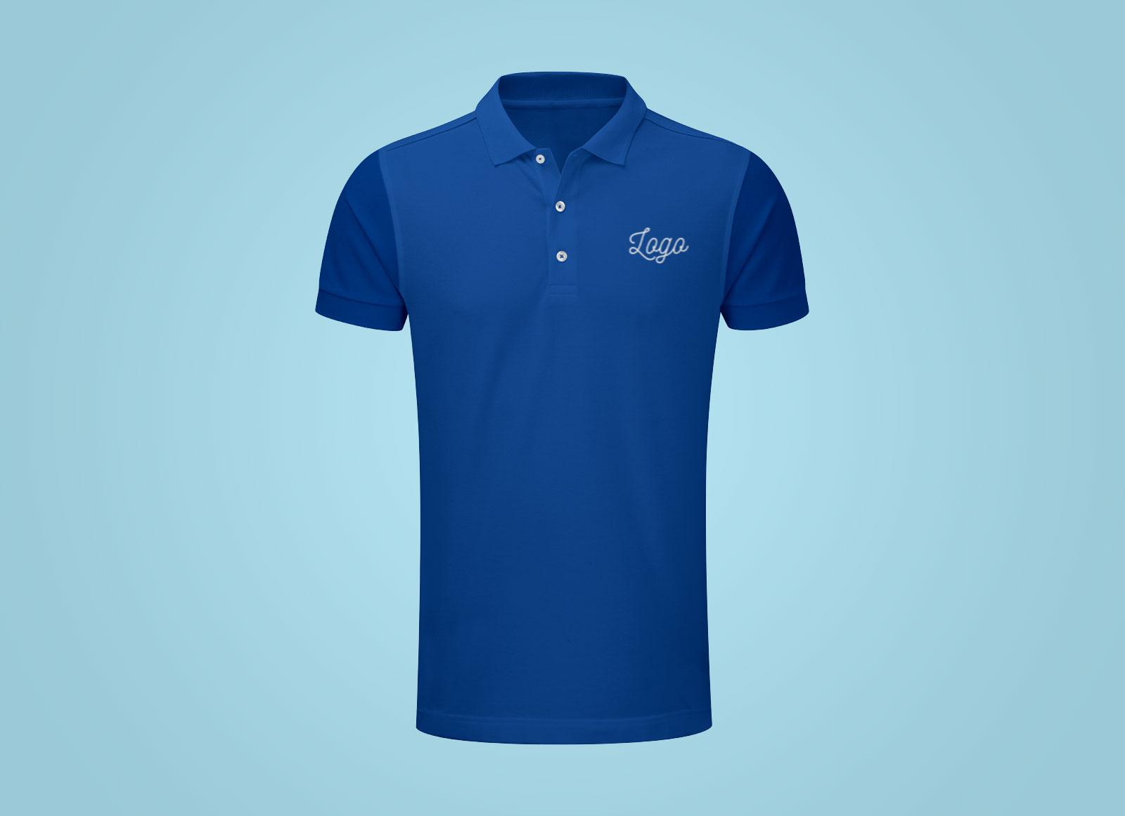 Free Fully Customizable Half Sleeves Polo T Shirt Mockup