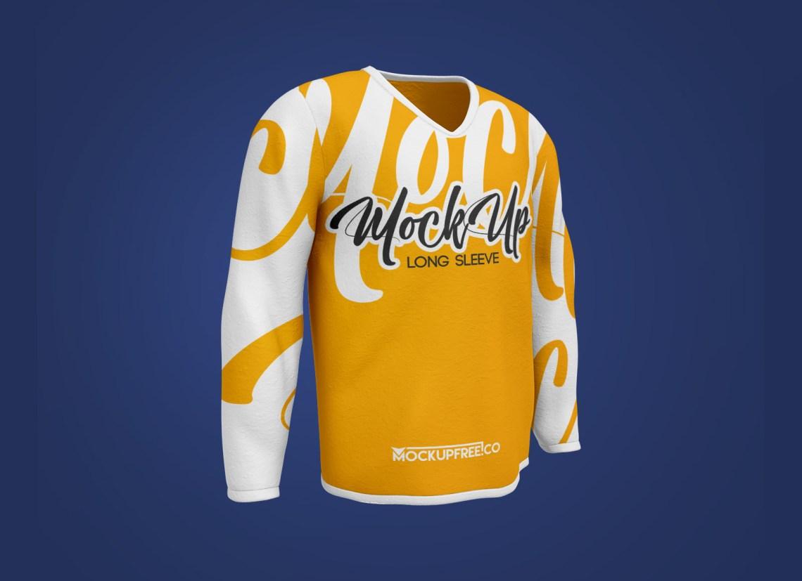 Download Free V-Neck Full Sleeves T-Shirt Mockup PSD - Good Mockups